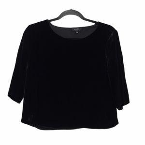 Babaton Black Velvet Silk Crop Black Shirt